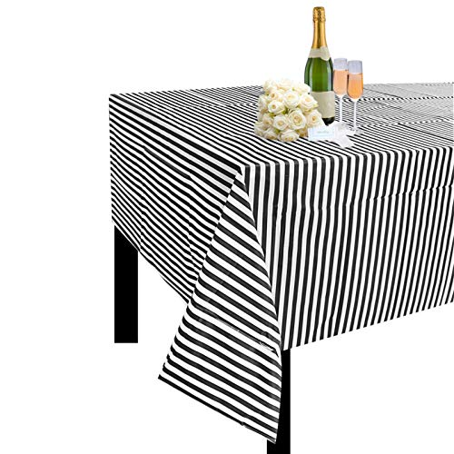 JINSEY Plastic Black White Stripe Tablecloths 54 Inch. x 108 Inch(3 Pack)