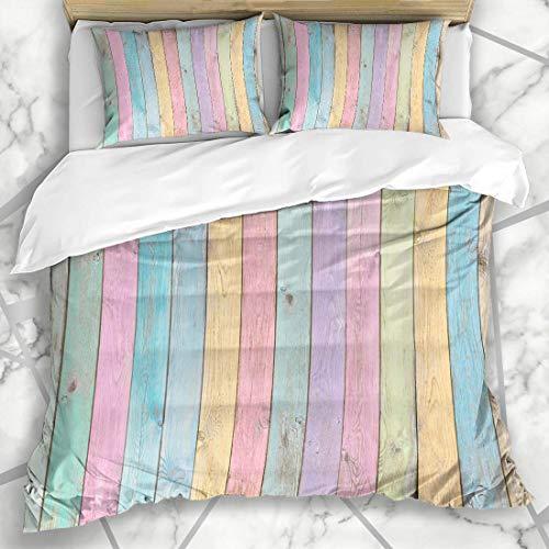 Soefipok Bettbezug-Sets Abstrakt Blau Gealtert Pastell Holzplanken Grün Zurück Farbe Zaun Licht Natürliche Mikrofaser Bettwäsche mit 2 Pillow Shams
