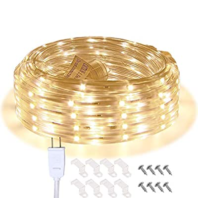 Areful LED Strip Lights, 16.4ft Flat Waterproof Connectable Rope Lighting, Indoor Outdoor Mood Lighting for Home Christmas Holiday Garden Patio Party Decoration