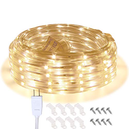 LED Rope Lights, 16.4ft Waterproof Connectable Strip Lighting, 3000K Soft White, Indoor Outdoor Mood Lighting for Home Christmas Holiday Garden Patio Party Decoration