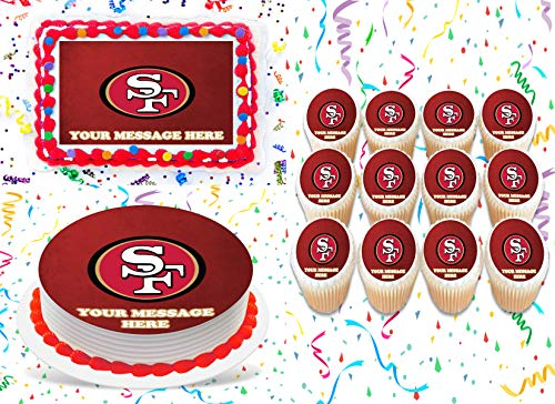 San Francisco 49ers Cake Topper Edible Image Personalized Cupcakes Frosting Sugar Sheet (2' Cupcakes (12))