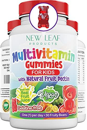 Multivitamins for Children Kids Multivitamin Gummies Plus Zinc Vegan Essential Vitamins A, B3, B5, B6, B7, B9, B12, C, D, E with Minerals, Gelatine-Free Multivits for Kids, GMP Chewable
