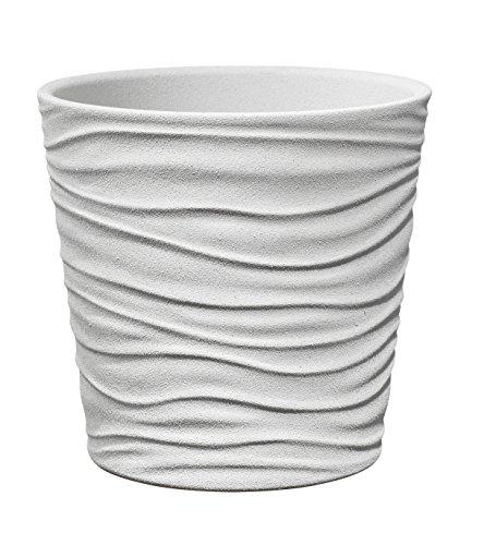 Soendgen Keramik Blumenübertopf, Sonora, weiß steineffekt, 13 x 13 x 12 cm, 0629/0013/1844