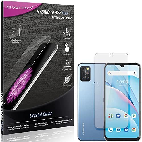 SWIDO Panzerglas Schutzfolie kompatibel mit UMIDIGI A9 Max Bildschirmschutz-Folie & Glas = biegsames HYBRIDGLAS, splitterfrei, Anti-Fingerprint KLAR - HD-Clear