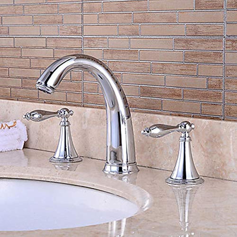 Ayhuir Badewanne Wasserhahn - Vorgespült Wasserfall Breite Chrom Badewanne Und Dusche, Zwei Griffe, Drei-Loch-Wasserhahn