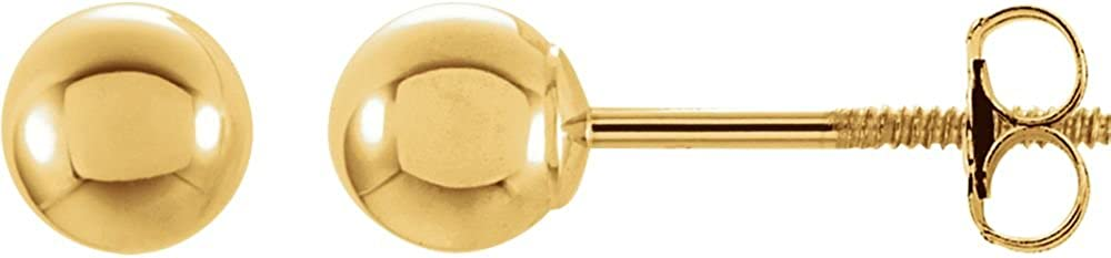 14K Yellow 5mm Round Ball Earrings