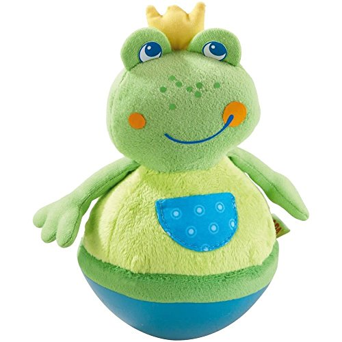 Haba 5859 - Stehauffigur Frosch Baby- und Kleinkindspielzeug, ab 6 Monaten, Motorikspielzeug aus weichem Veloursstoff mit lustigem Wackel- und Klingeleffekt
