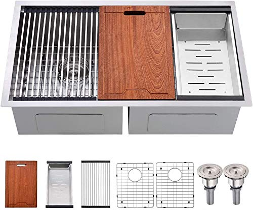 33 Undermount Workstation Double Stainless Steel Kitchen Sink-Bokaiya 50/50 Undermount Kitchen Sink 16 Gauge Ledge Workstation Stainless Steel Double Bowl Kitchen Sink with Cutting Board