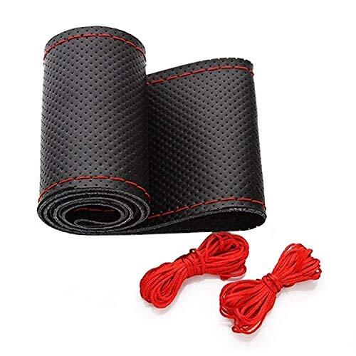 HICYCT Couvre Volant,Housse de Volant de Voiture DIY,Microfibre Cuir Diamètre 37-38cm(rouge)