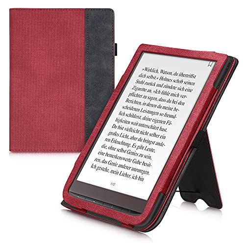kwmobile Flip Hülle kompatibel mit Pocketbook InkPad 3/3 Pro/Color - Handschlaufe - Cover Rot Dunkelgrau