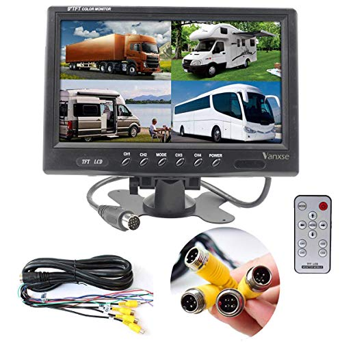Vanxse 9' TFT LCD Car Rearview Quad Split Monitor,Remote Control, 4 Channels 4-Pin Aviation Video Inputs - 12V-24V 800X480HD Screen for Car Backup Camera System & Home Security Surveillance