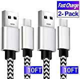USB C Cable 10ft, Fast Charge Type C Charging Cable for Samsung S10, 2 Pack USB A 2.0 to USB-C Braided Cord for Google Pixel 3A 3 2 4 Galaxy S20 S9 S8 Note10 A50 LG V50 V40 G8 G7, Moto Z