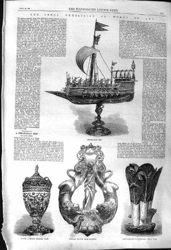 Eiförmiger Vase Leeds-Kunst Silber-Gilf Nef Tür-Klopfer 1868 Lotus Rockingham China