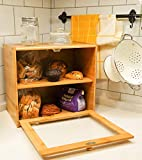 Goodpick 2-Layer Bamboo Bread Box 15.8' x 14' x 9.8' Large Size Bread Storage Bin on Countertop Shelf - Extra Large bread box for Kitchen Counter with Transparent Window, 2 More Loaf Bread Box
