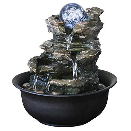 Kamerfontein Cascading fontein Zen hars Rock Falls binnen waterfontein met LED-lampjes, meditatiebal, ontspanning, kleine fontein voor kantoor tuin luchtbevochtiger B