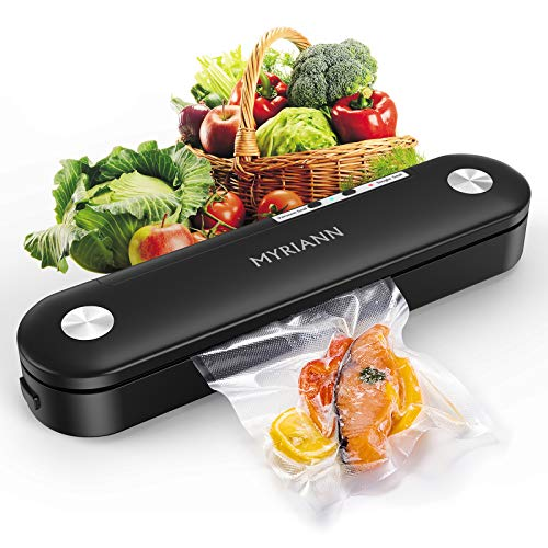 Vacuum Sealer, MYRIANN Automatic Food Sealer Machine for Food Preservation w/Starter Kit?Vacuum Air Sealing System with Compact Design/Dry & Moist Food Modes/Sous Vide Cooking (Black)
