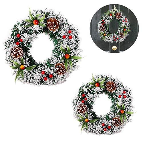YSHUO kerstboom decoratie handgemaakte kerst grote krans deur muur opknoping slinger decoratie nep fruit dennen kerstdecoratie