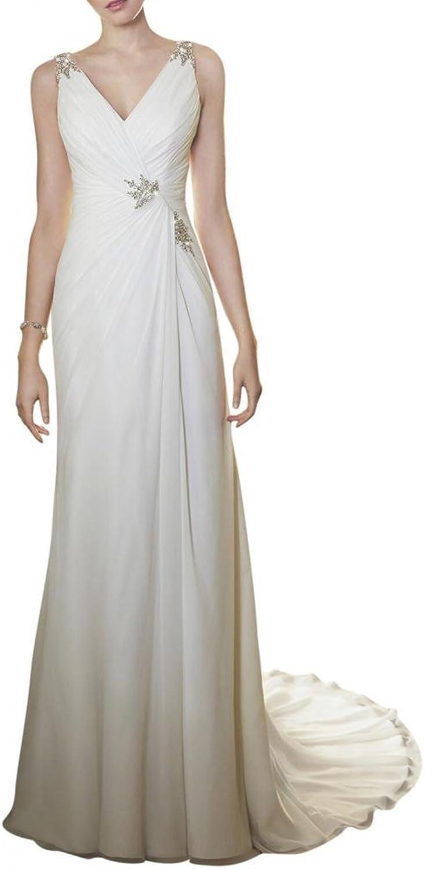 Angel Bride Ivory Column Chffion Bridal Gowns Beach Wedding Dresses with V Neck