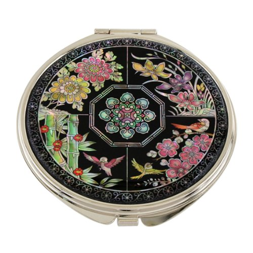 Mother of Pearl Four Noble Plants Double Compact Magnifying Cosmetic Makeup Purse Pocket Mirror, 3.2 Ounce by Antique Alive