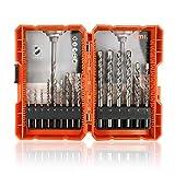 Amazon Brand - Umi 15 Piezas Juego de Brocas, Brocas con Caja Portátil para Tareas de Perforación en Mampostería, Hormigón, Ladrillo, Cemento, 3/4/5/6/8/10 mm