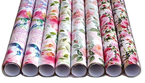 artwelten Premium Geschenkpapier Rosen Blumen 8 Rollen 1 mx70cm Geburtstagspapier im romantischen Stil Geschenkverpackung Rose Taufe Hochzeit Geburtstag