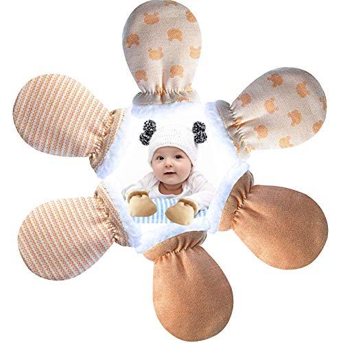 Baby Fäustlinge Handschuhe Winter, 3 Paar Warm Baumwolle Anti Kratzen Fäustlinge für Neugeborene Baby Jungen Mädchen, Wolle Gefüttert Baby Kratzhandschuhe ideal Geschenke für 0-12 Monate
