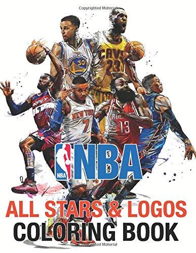 NBA All Stars Coloring Book: Ultimate Basketball Coloring Book | Michael Jordan, Stephen Curry, Lebron James, Kawhi Leonard | All 30 team logo