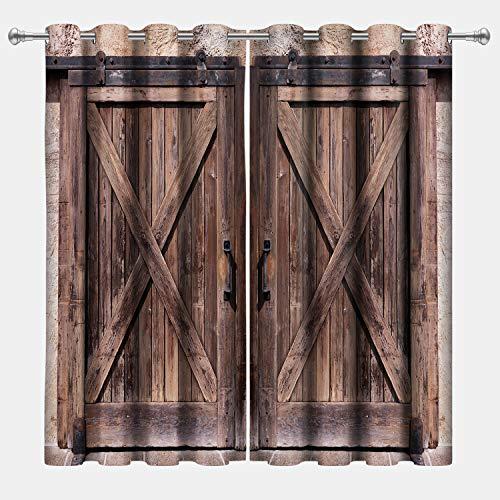 VERTKREA Wood Door Window Curtain, Wooden Window Curtains, Wooden Barn Door Grommet Drapes for Room, Set of 2 Panels, 52 x 63 Inches