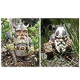 Wikinger Victor Norse Gnom Statue - Wikinger Gnom Figuren Garten Dekoration, Gartenzwerg für Indoor Outdoor Home Yard, Rasen, Patio Dekor (A+B)