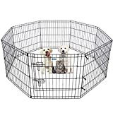 HACHI SHOP Dog Pet Playpen Foldable Puppy Playpen Exercise Pen Fence Indoor 8 Panel Dog Pen Ideal for Small Dogs Cats Rabbits - 24 inches (24''x24'')