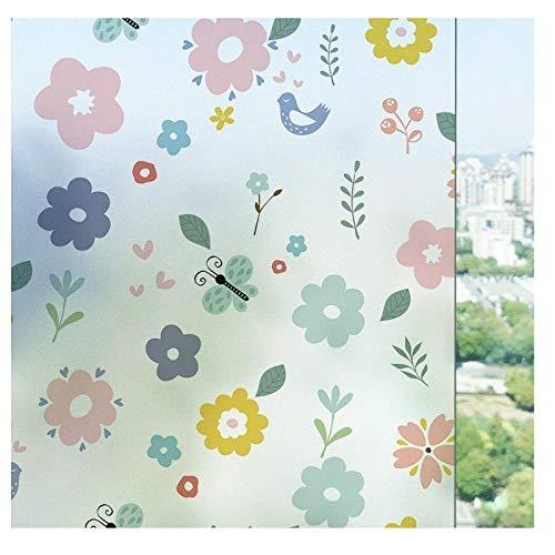 Milchglasaufkleber, Fensterglasfolie, Anti-Peeping-Fensteraufkleber für Badezimmer, Fensterpapier-Rouge Jasmine_50 cm breit * 100 cm lang