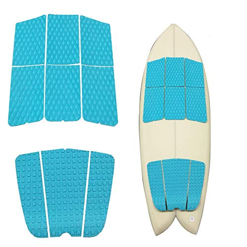 Abahub 9 Piece Surf Deck Traction Pad Premium EVA with Tail Kicker 3M Adhesive for Surfboard Longboard Shortboard Funboard Fish Skimboard Blue