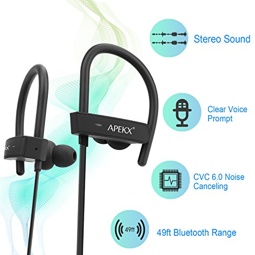 APEKX Bluetooth Headphones, Wireless in-Ear Earbuds, HiFi Stereo Bass Sports Headset, IPX7 Waterproof Earphone for Running