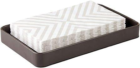 mDesign Modern Decorative Metal Guest Hand Towel Storage Tray Dispenser, Sturdy Holder for Disposable Paper Napkins, Jewel...