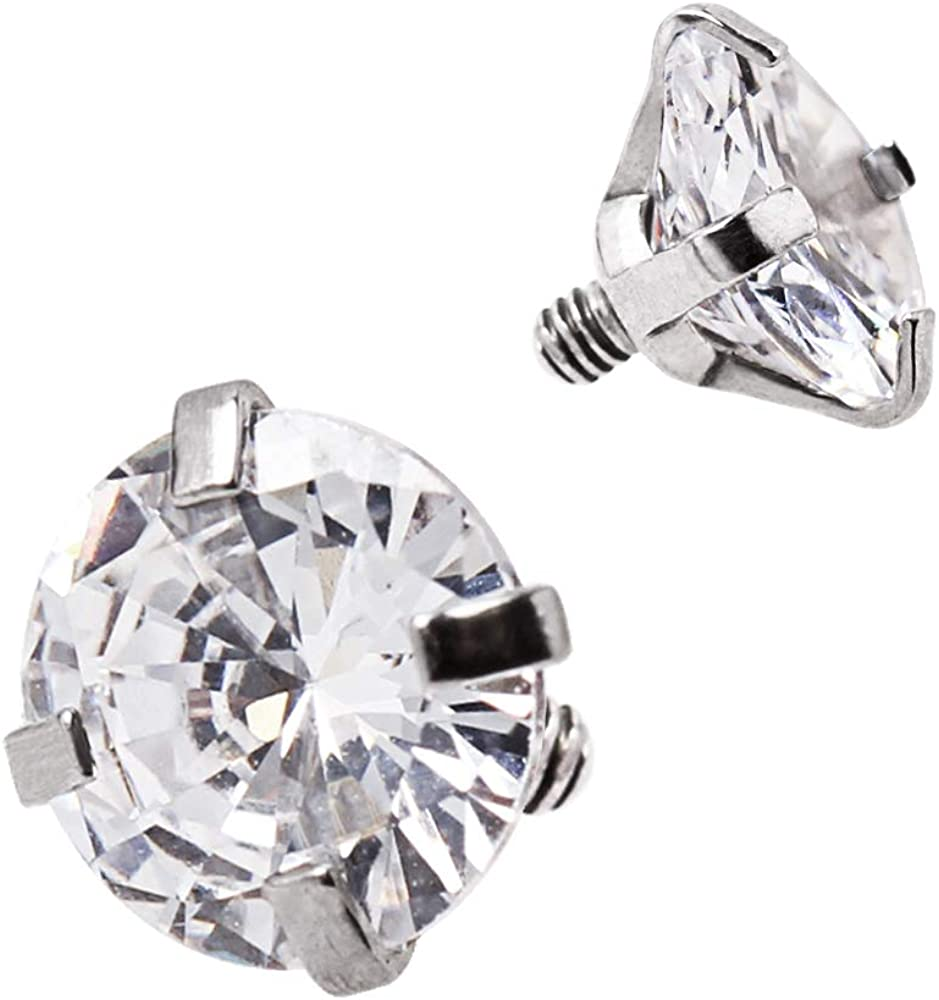 Clear 5mm CZ Crystal Gem 316L Stainless Steel Internally Threaded Dermal Top (Sold by Piece)