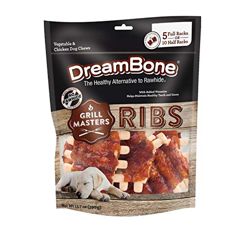 DreamBone Grill Masters Ribs, No-Rawhide Chews for Dogs, 10 Half Racks