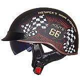 Caschi da Uomo Harley Adulti, 3/4 Casco da Motociclista per Adulti a Mezza Faccia da Crociera Cruiser Bike Scooter Street Riding Retro Pilot Vespa-Helmet con Lenti Visiera (M/L/XL/XXL)