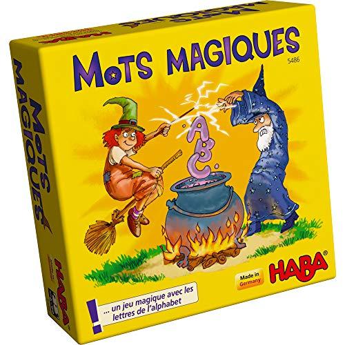 HABA 5486 - Mots magiques - jeu éducatif dès l'âge de 6 ans pour l'apprentissage des lettres, cadeau idéal pour les débutants pour la scolarisation, jeu de voyage et de souvenirs
