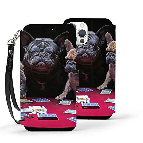 Vizor Leather Case iPhone 12 Mini - 5.4 Inch Pu Full Body Protective Wallet Case Funly French Bulldogs Playing Cards with Credit Card Holders Wrist Strap Magnetic Closure
