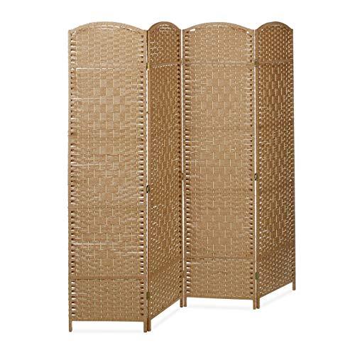 Relaxdays Biombo Separador de 4 Paneles BYÖBU, Parabán Plegable, Madera y Bambú, 179 x 180 x 2 cm, Marrón