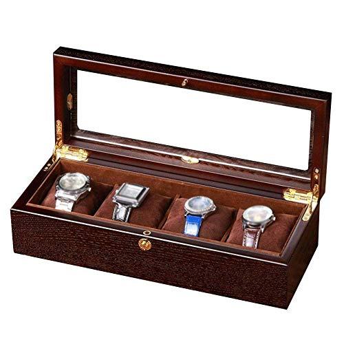 ROLLHDD Watch Box for Men & Women - 4 Slot Wooden Design Display Case, Large Holder, Metal Buckle