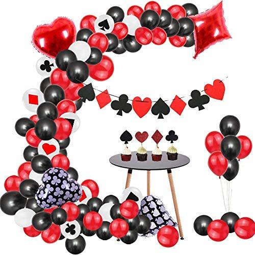 Globos de casino, 107 unidades, color negro, rojo y blanco para casino, fiestas de Las Vegas, casino, decoraciones, juego nocturno, pajitas, globos para fiestas de póquer