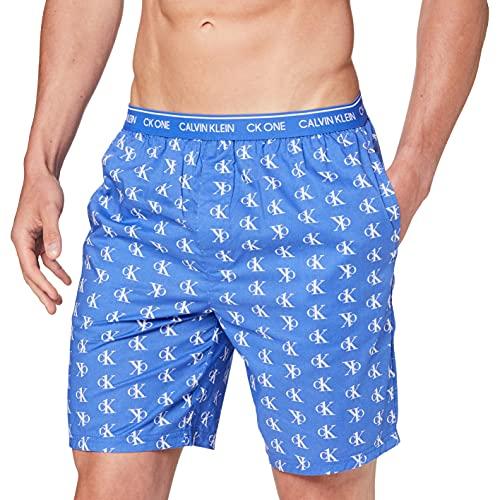 Calvin Klein Sleep Short Pantaln de Pijama, Logotipo Escalonado_Azul Violeta, L para Hombre