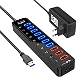 Atolla Hub USB 3.0 Multiprise 11 Ports, USB 7-Ports Transfert de données 5Gbps + 4-Ports Charge...