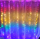 Rainbow Curtain Lights Greenke LED Curtain String Lights Waterproof Fairy Lights with Remote Twinkle Lights String for Bedroom Wall Birthday Christmas Wedding Decoration