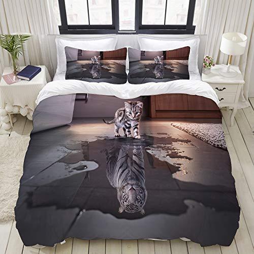 ZELXXXDA Parure de lit,Chat et Tigre Animal drôle,1 Housse de Couette 200x200 + 2 Taies d'Oreillers