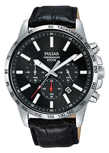 Pulsar Herren Analog Quarz Uhr mit Leder Armband PT3A01X1