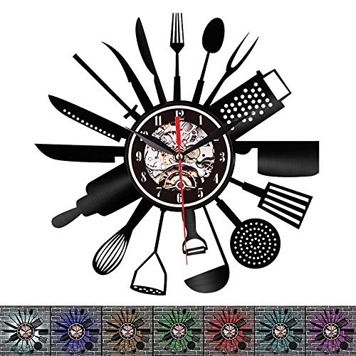 """12""""Kitchen Utensils Knife and Fork Shape Kitchenware Vinyl Record Wall Clock