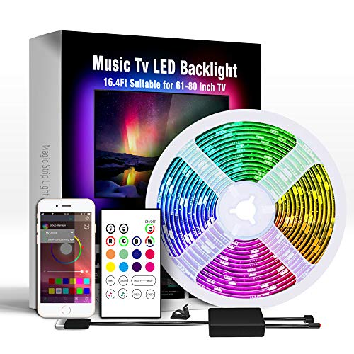 Miume Music tv Led Backlight with 16.4ft LED Strip Lights for 61-80 inch TV,RGB USB Powered TV Led Backlight with APP and Remote Control,TV Led Backlight Kit for Flat Screen TV PC