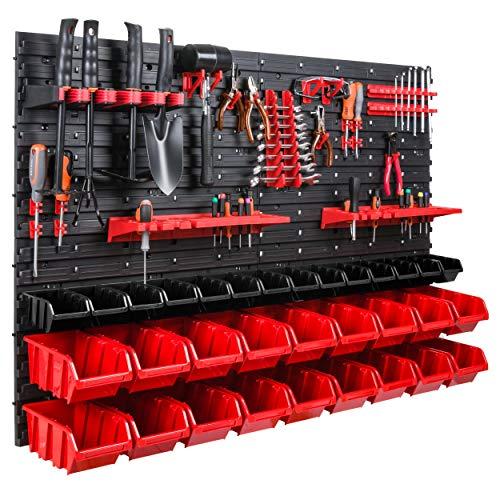 Estantería de pared de 115 x 78 cm, soporte para herramientas, cajas apilables, plástico, color rojo